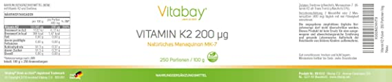 Polvo de vitamina K2 - Menaquinona MK7 200 ?g - 99,99% de forma trans - Contenido de Cis 0% - Polvo vegano 250 porciones sin cápsulas: Amazon.es: Salud y ...