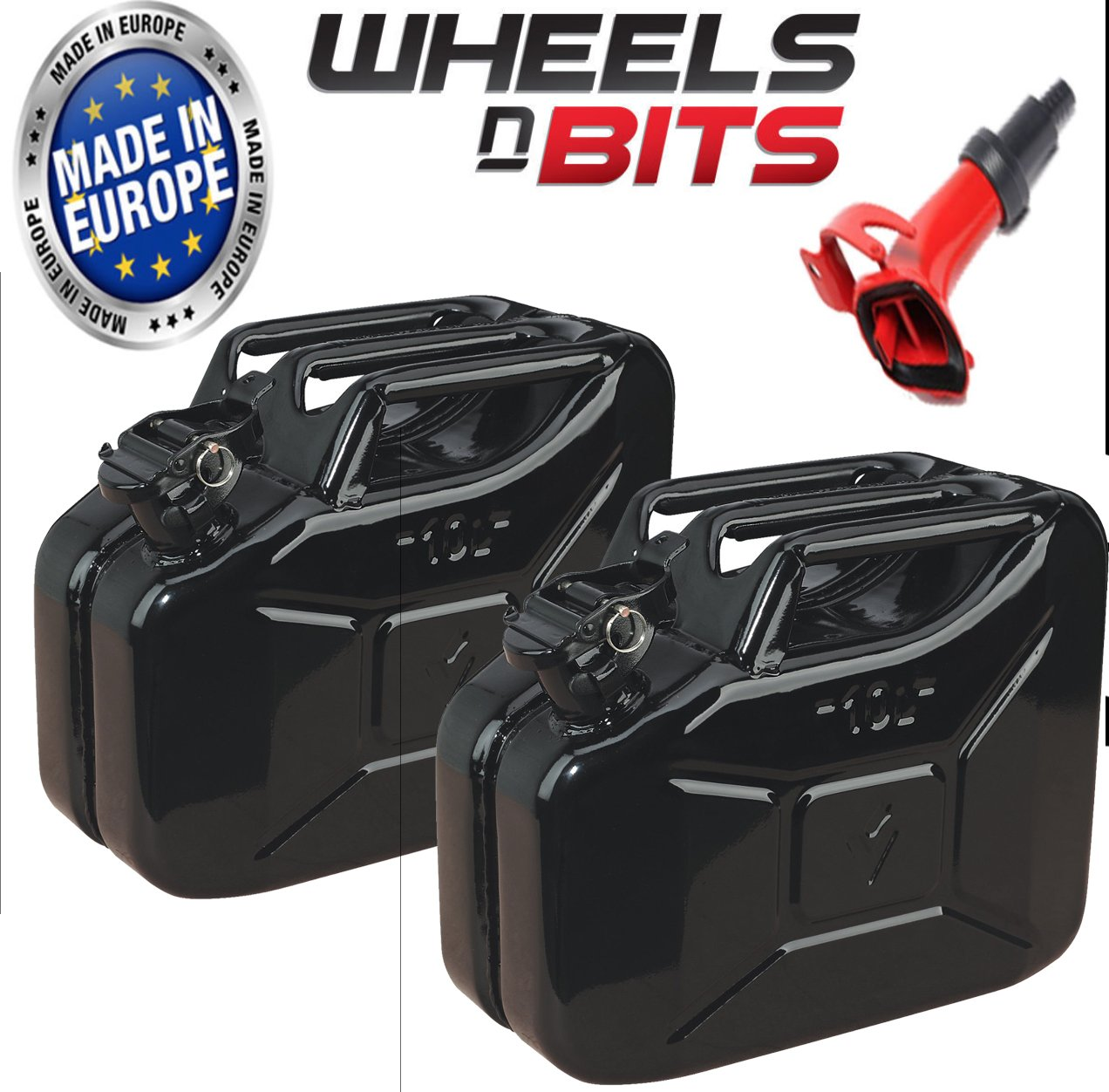 NEW HIGH QUALITY METAL POWER COATED INSIDE AN OUT JERRY CAN 10L LITRE CAN Wheels N Bits