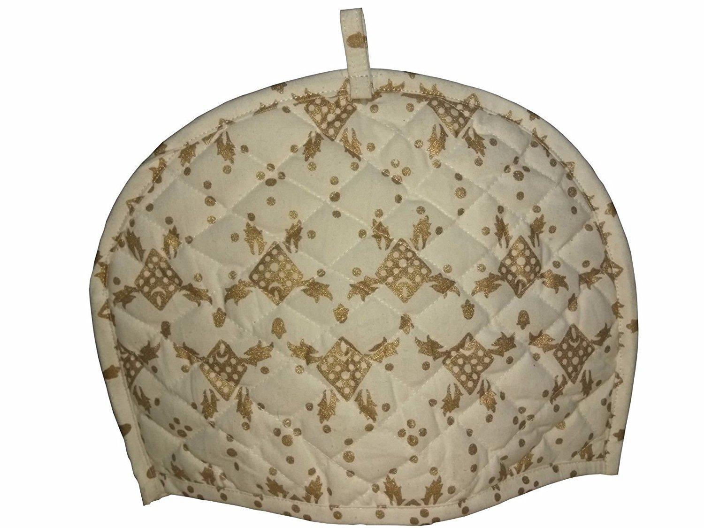 Home Decorative Cotton Creative Tea Cosy Indian Mandala Tea Cozies Tea Pot Cover Dark Blue Print Tea Cozy (Gold)