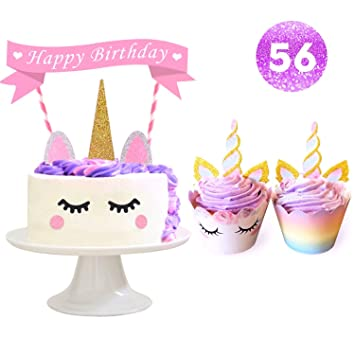 Unicorn Party Supplies Cake Topper Cupcake And Wrapper With Eyelashes