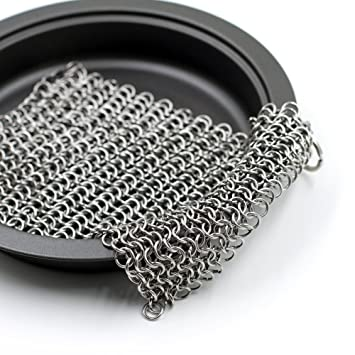 VannCook - Raspador de malla - Ideal para limpiar sartenes, ollas, woks, salteadoras y calderos sin rayar los revestimientos naturales de hierro, ...