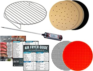 Air Fryer Rack Accessories Compatible with Gowise Bella Chefman BCP Black and Decker +More –Parchment Paper, Magnetic Cheat Sheets and Meat Thermometer