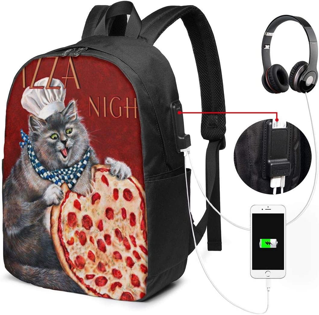 Funny Chef Fat Cat Pizza Love Personality 17 Inch College School Computer Bag Laptop Backpack with USB Charging Port for Women Men College Student Travel Outdoor Camping Daypack