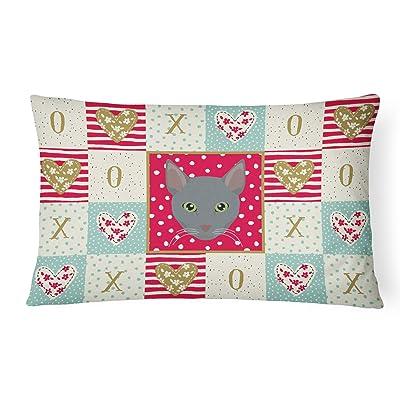 Caroline's Treasures CK5151PW1216 Raas Cat Love Canvas Fabric Decorative Pillow, 12H x16W, Multicolor : Garden & Outdoor