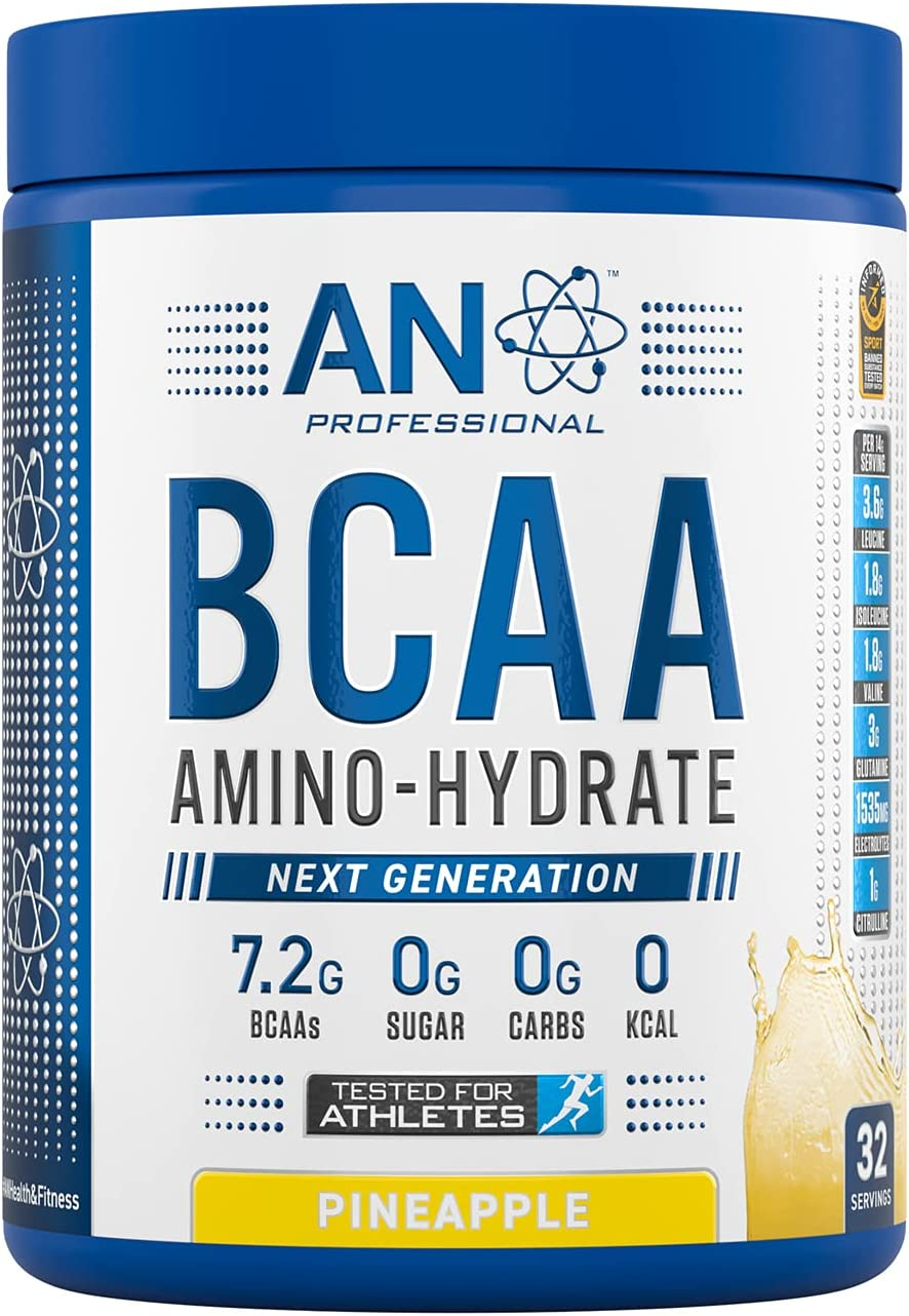 AN Health & Fitness BCAA Powder Branched Chain Amino Acids Supplement with Vitamin B6, Replenish Electrolytes, Amino Hydrate Intra Workout and Recovery Powdered Energy Drink (Pineapple, 450g)