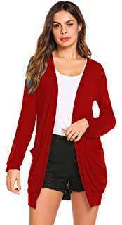 SimpleFun Womens Basic Fall Long Sleeve Lightweight Open Front Long Knit  Cardigan Sweaters with Pockets 21bbdba3e