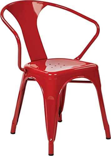 OSP Designs Patterson 30-inch Metal Frame Chair, Red, 2-Pack