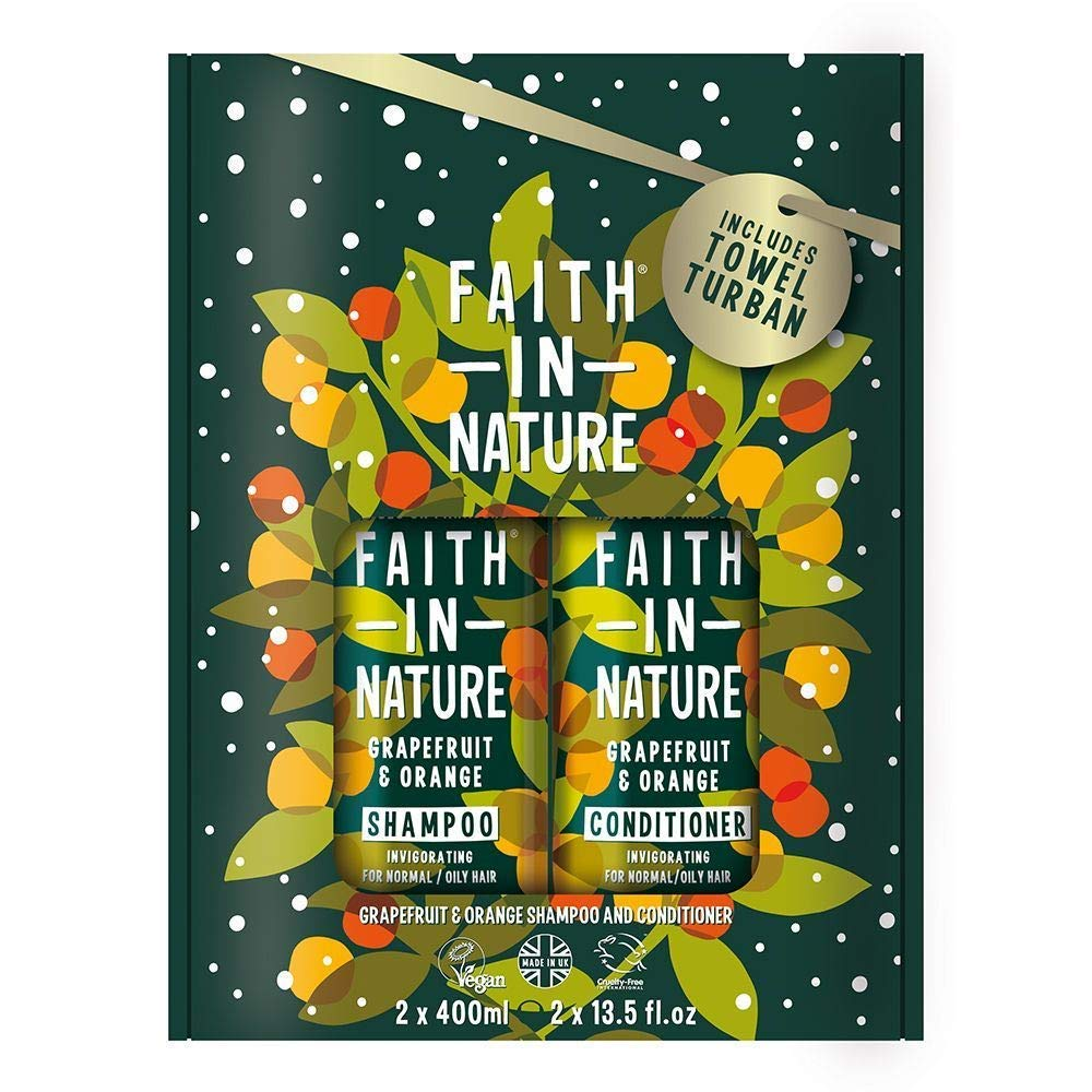 Faith In Nature Grapefruit & Orange Shampoo and Conditioner Set 2 x 400ml. Moisturises, Hydrates and Conditions Hair, Includes Hair Towel. | Hair Shampoo & Hair Conditioner Towel Set
