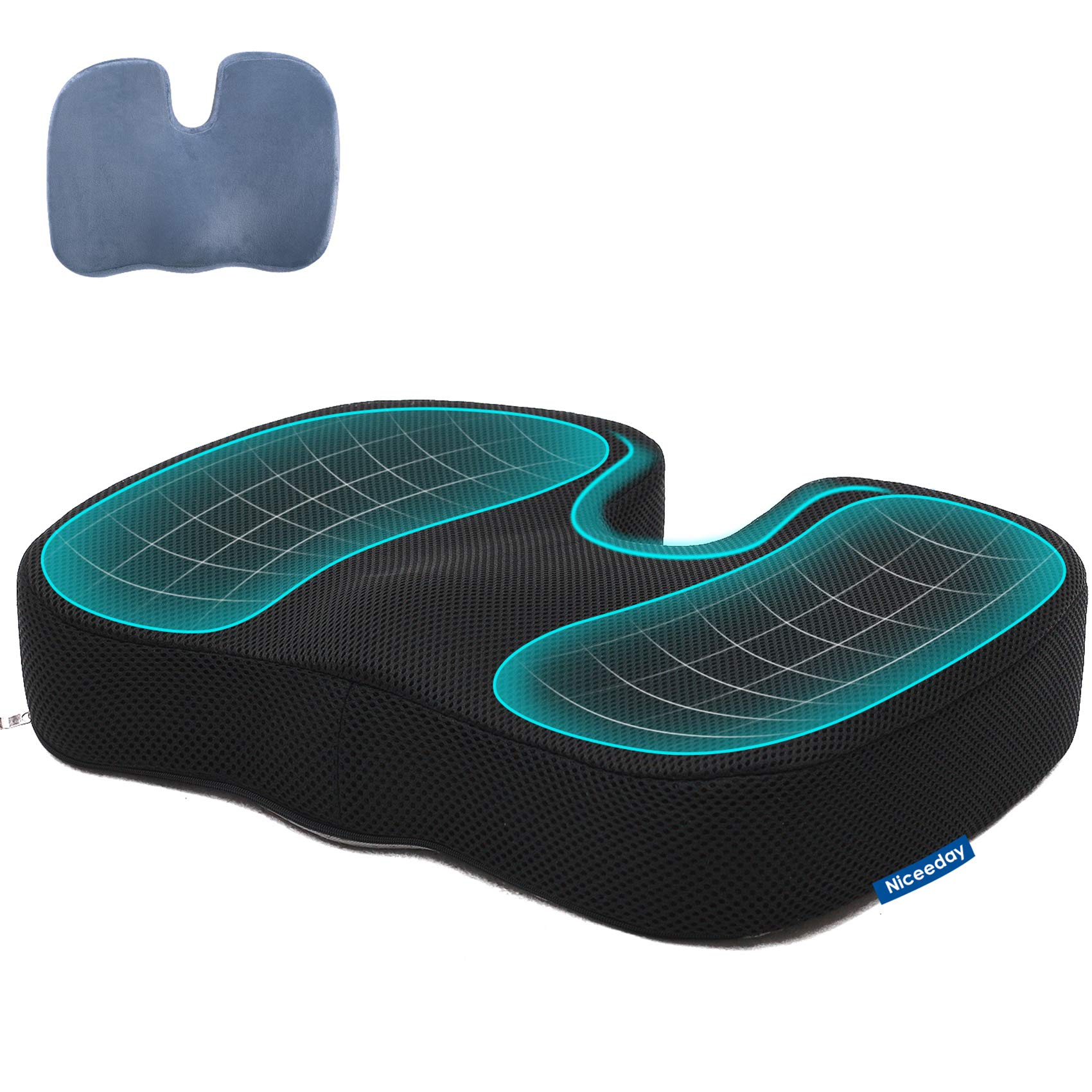 Car Seat Cushion for Office Chair with 2 Covers, Tailbone Pain Relief Cushion, Memory Foam Sciatica Pillow for Sitting - Coccyx Cushion for Car, Wheelchair, Computer, Desk Chair, Truck- Orthopedic Pad
