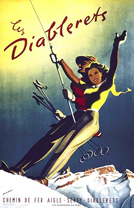 Les Diablerets Vintage Travel Ski Poster Switzerland Framed