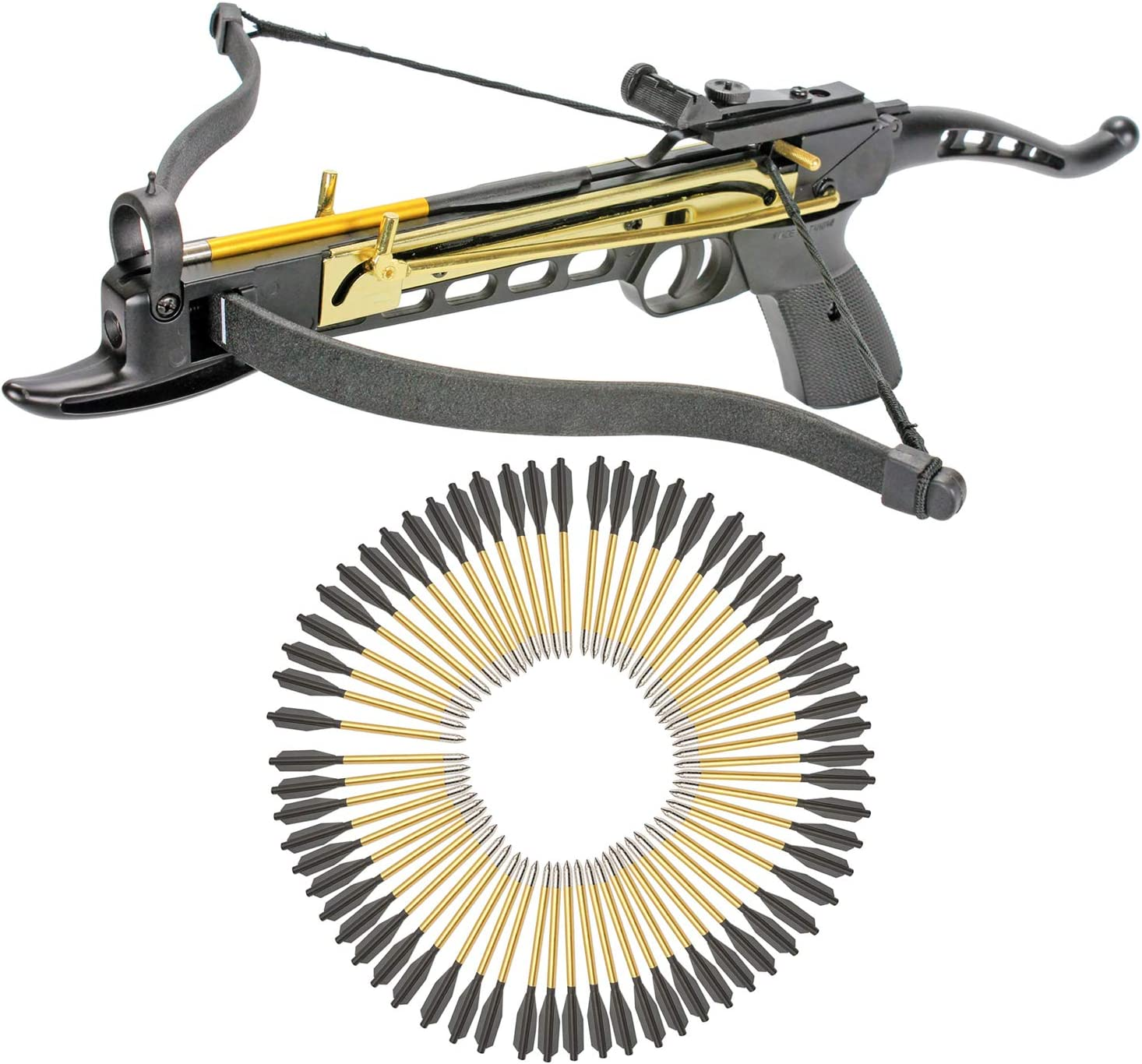 KingsArchery Crossbow Self-Cocking 80 LBS with Adjustable Sights and a Total of 63 Aluminim Arrow Bolt Set