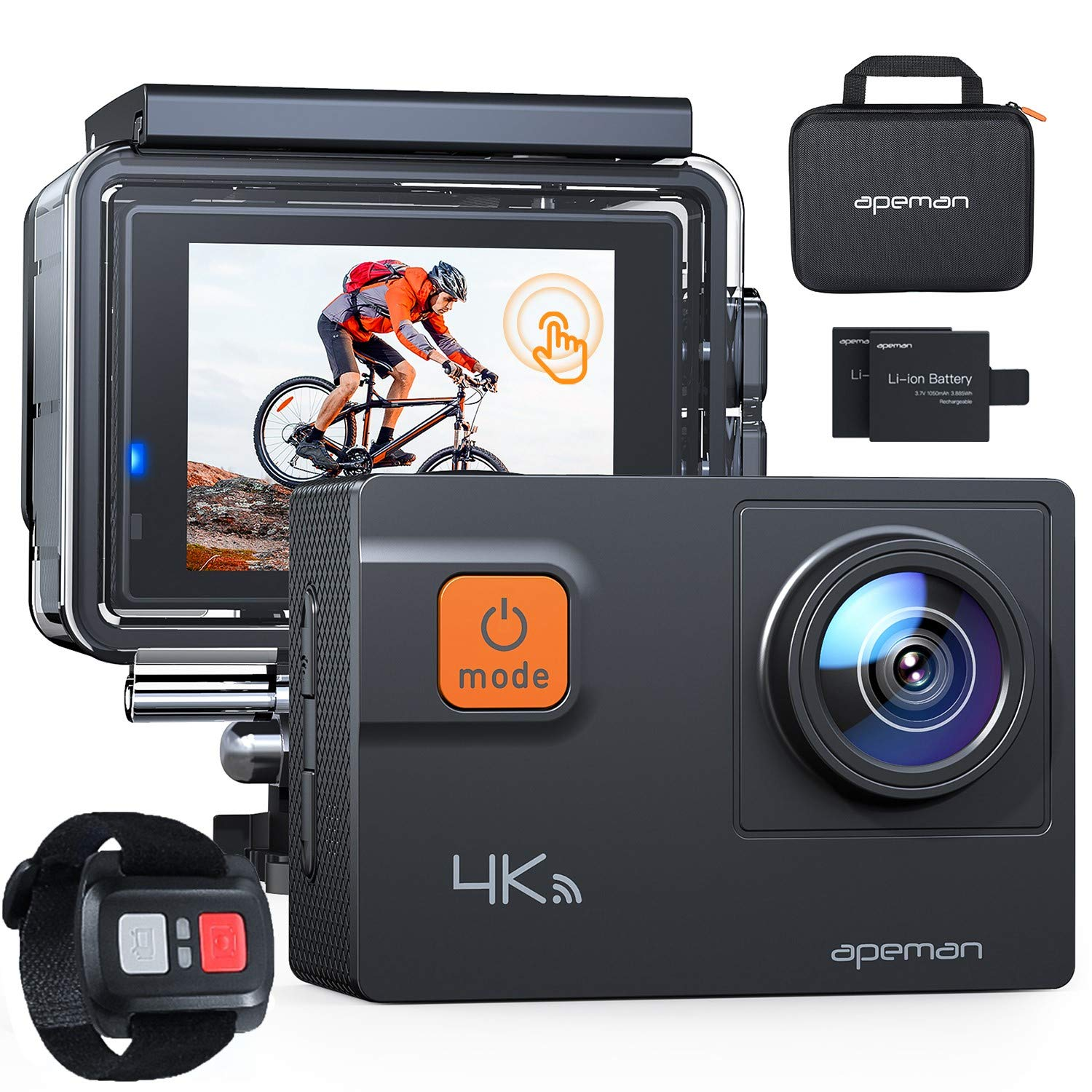 APEMAN 4K 60FPS Action Camera A87,Touch Screen 20MP Wi-Fi EIS 8X Zoom Remotor Control Sports Cam 40M Waterproof Underwater Vlog Camcoder with Mounting Accessories Kit and Carrying Case