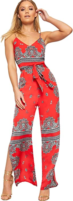 a20d8c88416 Women s Strappy Sleeveless Paisley Print Split Leg Jumpsuit Ladies Belted  Flared 6-14