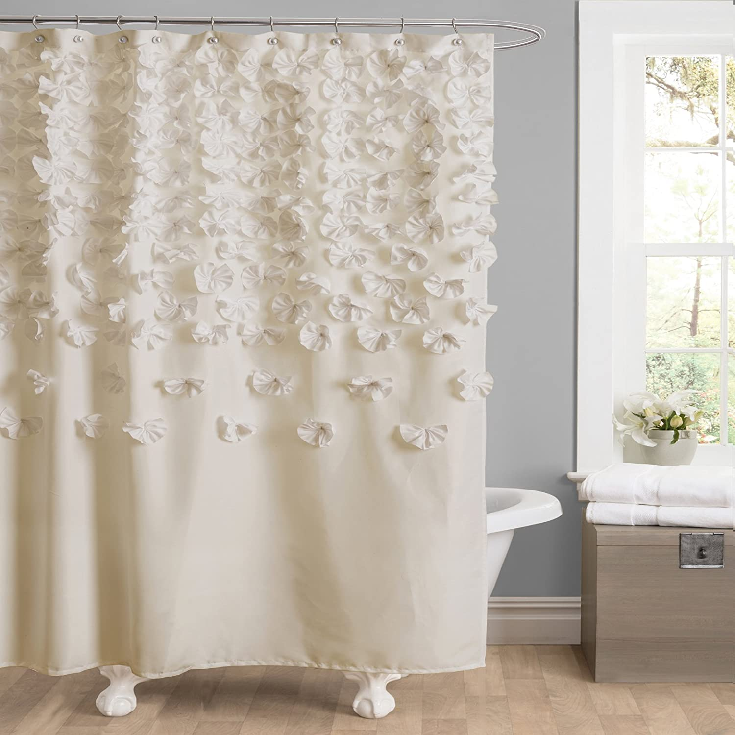 Amazon Lush Decor Lucia Shower Curtain 72 Inch By Ivory Home Kitchen