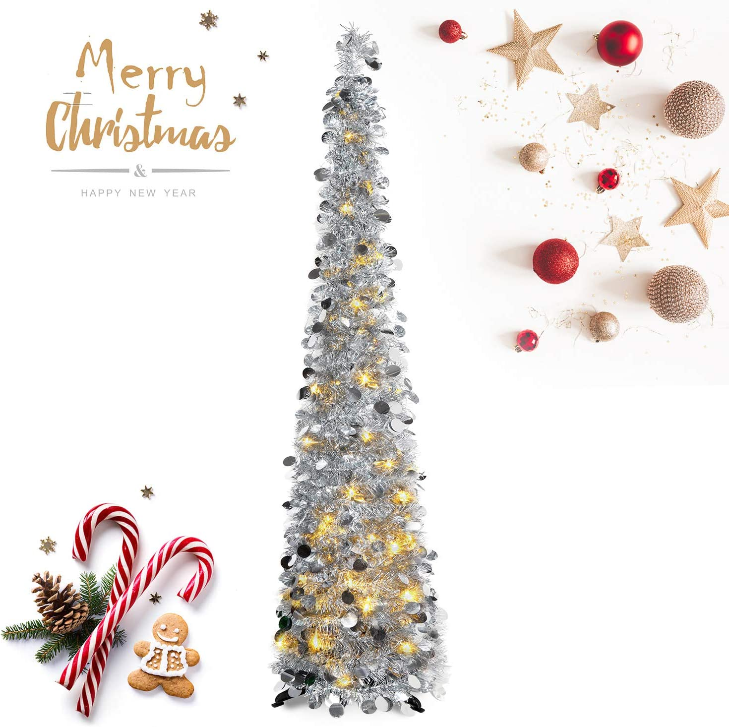 HMASYO Pop Up Tinsel Christmas Tree with Lights - 5 Foot Sequin Artificial Christmas Pencil Trees Xmas Decorations for Home Office Fireplace Party, Collapsible and Easy to Assemble (5 Foot - Silver)