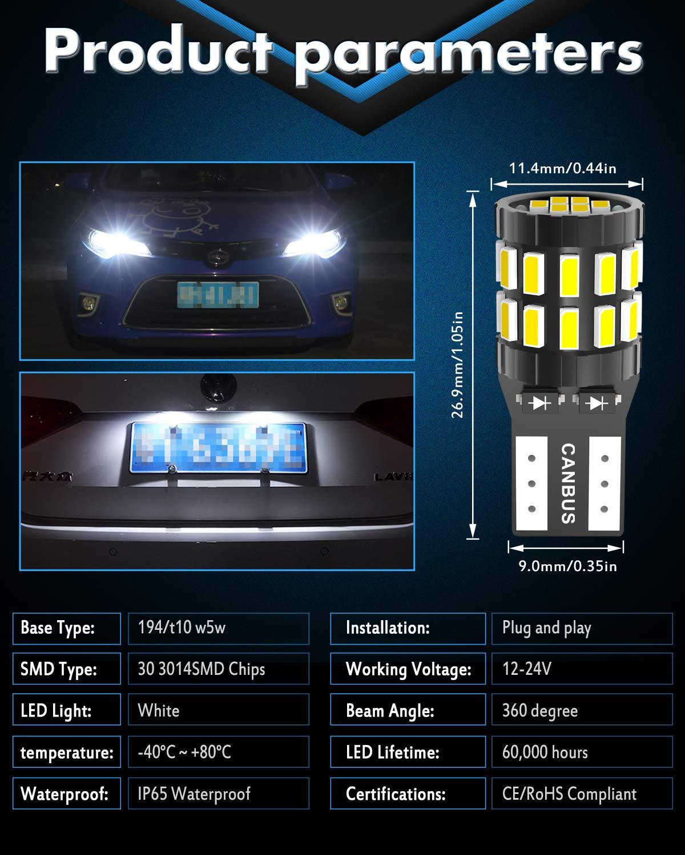 Versione aggiornata KATUR T10 W5W LED 194 168 2825 Lampadina Cuneo LED CANBUS Senza errori Super Luminoso 6000K Xenon Bianco 30x3014SMD 12-24V per Luci Car Dome Map Door Luce di cortesia per Targa