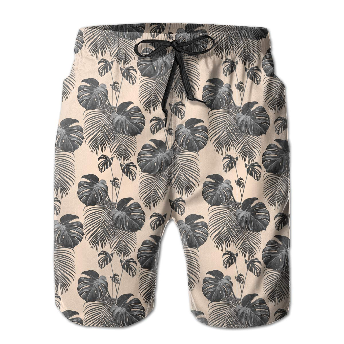 Xk7@KU Mens Athletic Swim Trunks Polyester Tropical Palm Leaves3 Pattern Swimsuit with Pockets