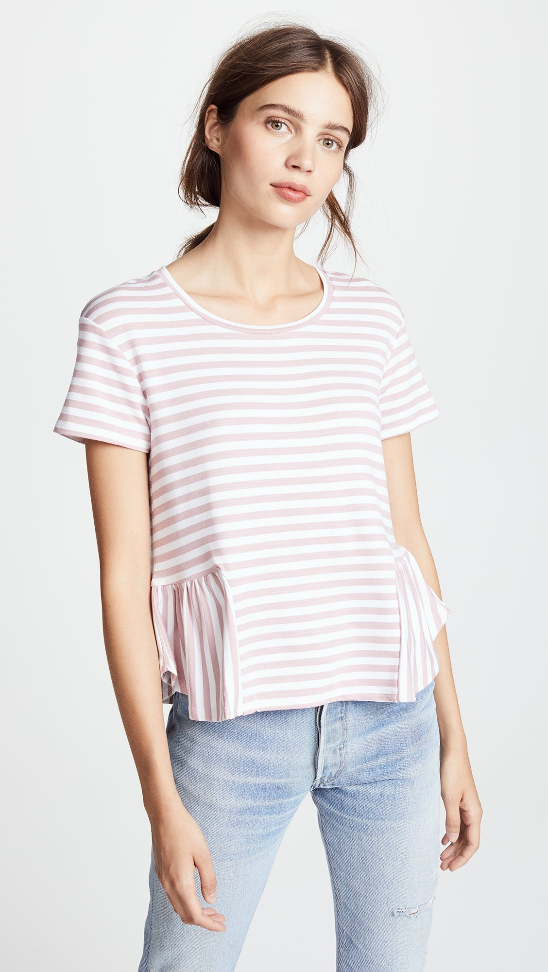 Three Dots Women's Cape Cod Stripe Loose Short Top, Rose/White, Extra Small by Three Dots (Image #2)