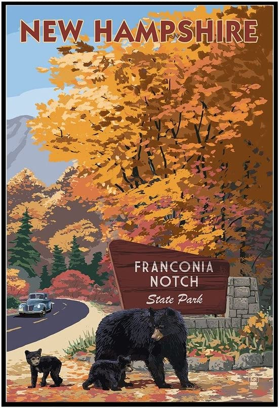 Franconia Notch State Park Bear Family and Fall Colors New Hampshire 24x36 Gallery Wrapped Stretched Canvas