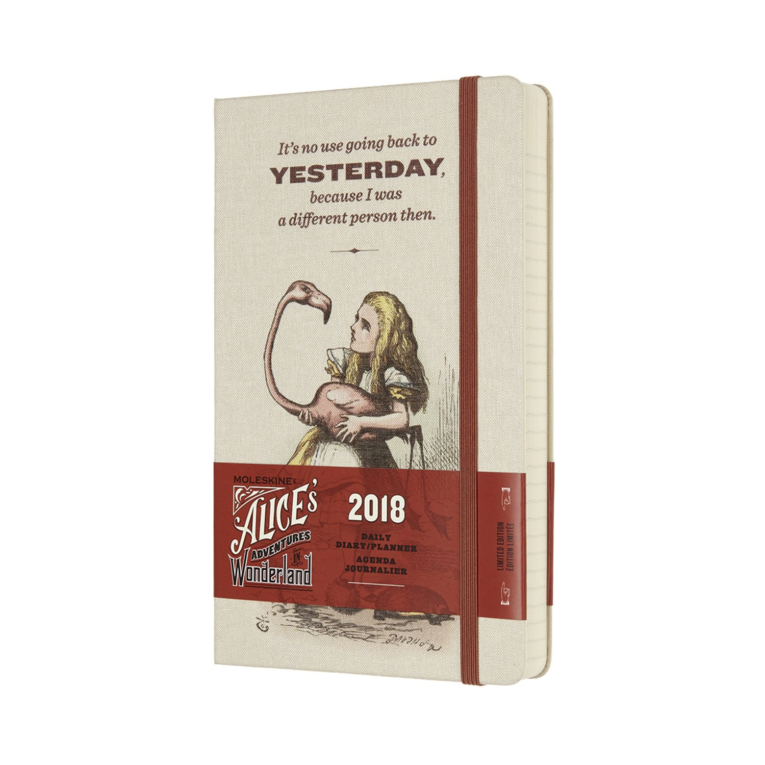 Moleskine Limited Edition Alice in Wonderland, 12 Month Daily Planner, Large, Almond White (5 x 8.25)