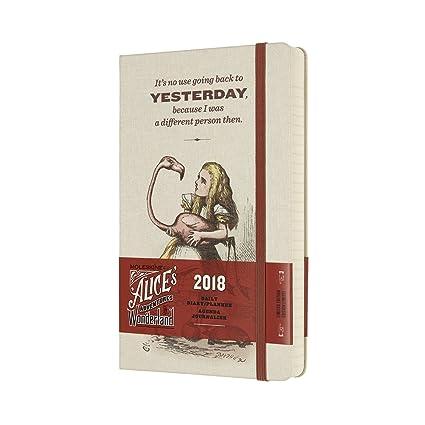 Moleskine Cuaderno y calendario de la semana, Alicia en el país de las maravillas, 18 meses, 2017/2018, Hard Cover, color Weiß / Koralle L