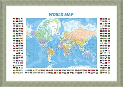 Amazon alonline art political modern flags world map silver alonline art political modern flags world map silver framed poster print on 100 gumiabroncs Gallery