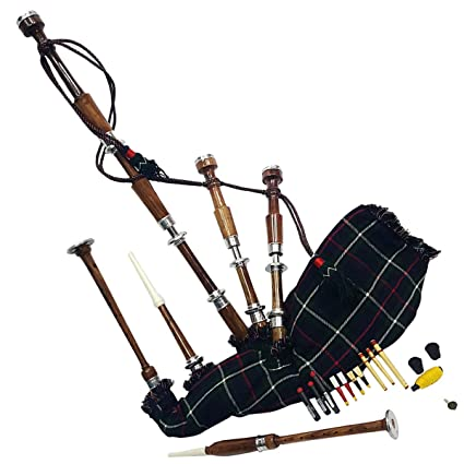 77a8921f0c Amazon.com  AC Great Highland Bagpipe Silver Mounts Natural Polished  Rosewood Mackenzie Tartan  Musical Instruments