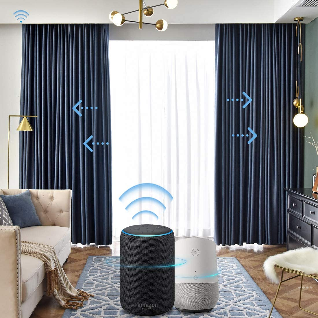 Graywind Motorized Blackout Curtain Set Smart Rod Remote Control Drapes Work with Alexa Google Home for Bedroom Office Living Room Ice Blue