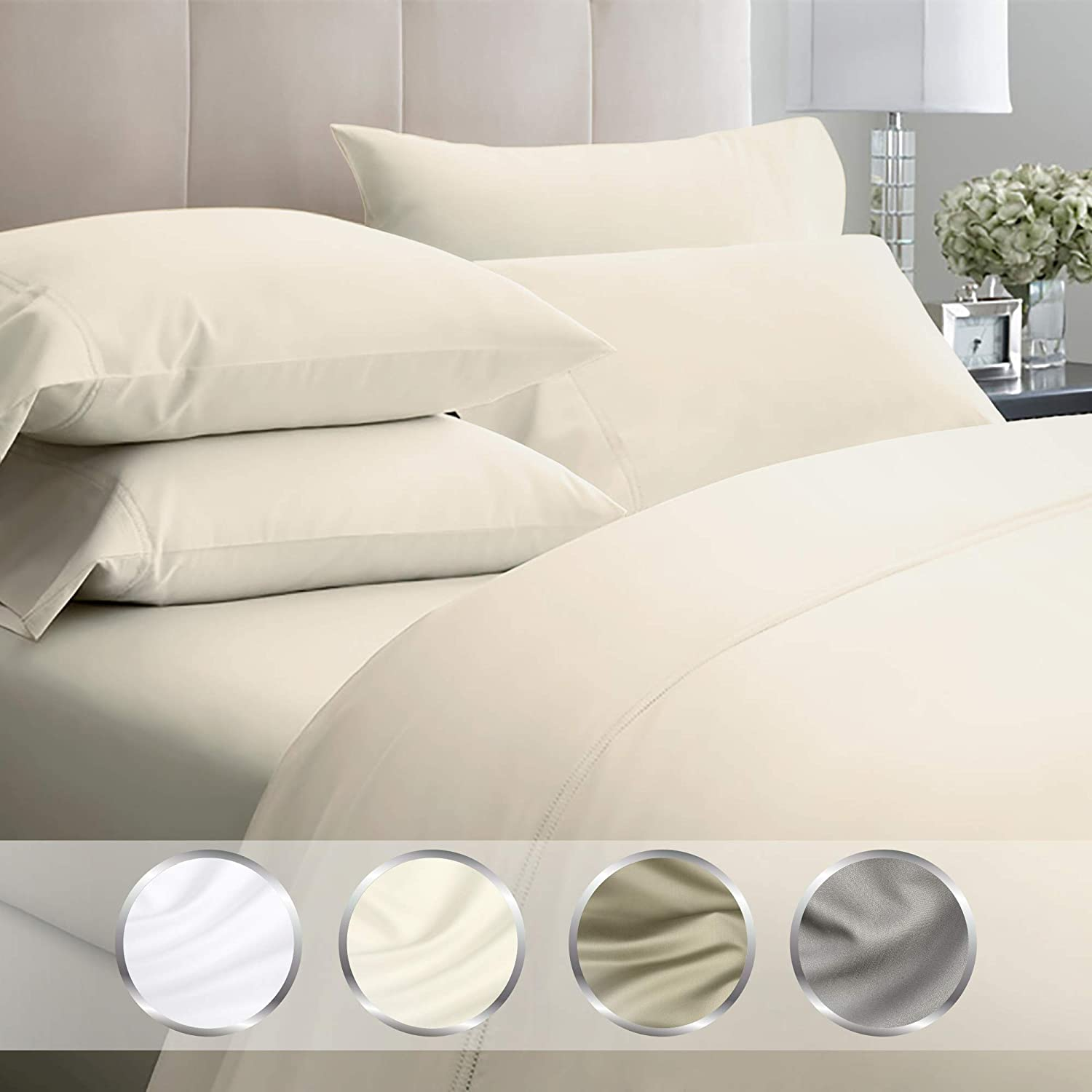 Long-Staple Combed Cotton Bed Pillow Covers for Sleeping Soft /& Silky Sateen Weave California Design Den 1000-Thread-Count Cotton Ivory Standard Size Pillowcases