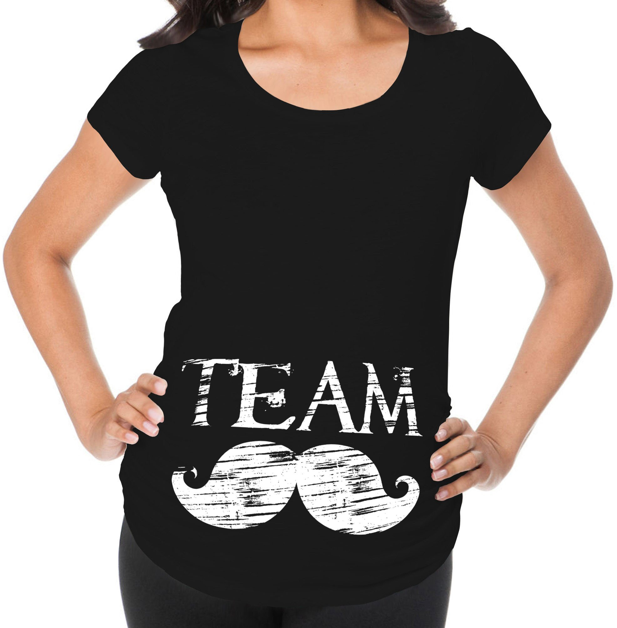 Awkward Styles Team Moustache Pregnancy Announcement Maternity T Shirt Baby Boy Announcement Black L