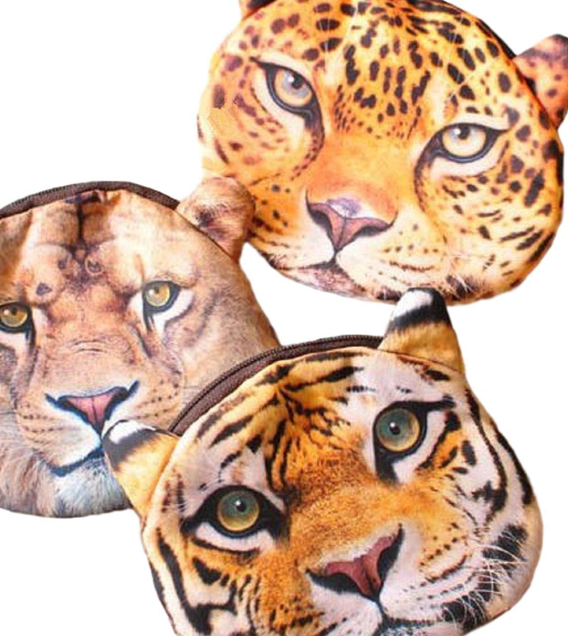 Leopard, L/öwe, Tiger Rei/ßverschluss Weicher Geldbeutel // Aufbewahrungstasche // M/ünzb/örse mit coolem Gro/ßkatzenmotiv L/öwe im Animal Print Design