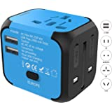 Jollyfit International Universal Travel Adapter Dual USB Ports 2.4A Charger AC Socket Power Wall Plug US UK AU EU Worldwide 150 Countries with Safe Fuse for Europe USA France Italy (Blue 2 USB)