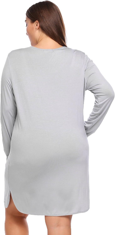 INVOLAND Womens Plus Size Sleepwear V-Neck Long Sleeve Night Dress Soft Split Lace Sleepshirt Sleep Night Dress XL-5XL