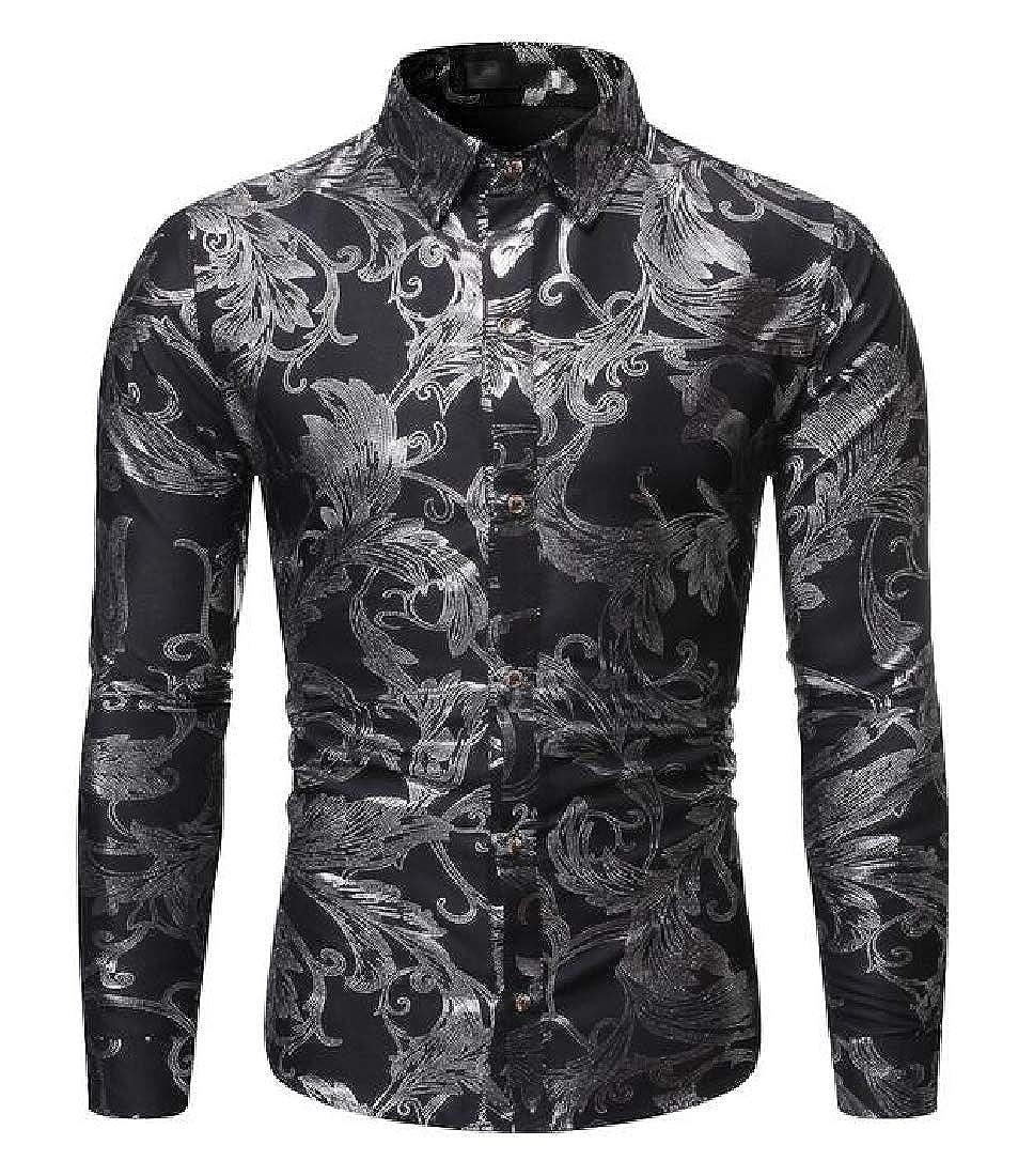 YYG Mens Lapel Neck Regular Fit Casual Long Sleeve Business Button Up Dress Work Shirt