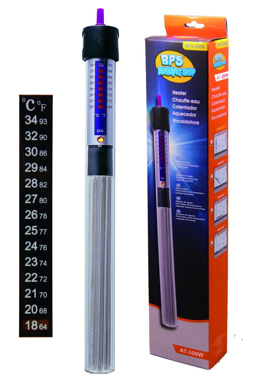BPS (R) Calentador Sumergible para Pecera 300W - 37cm con Un Termómetro Digital Adhesivo.BPS-6056: Amazon.es: Hogar