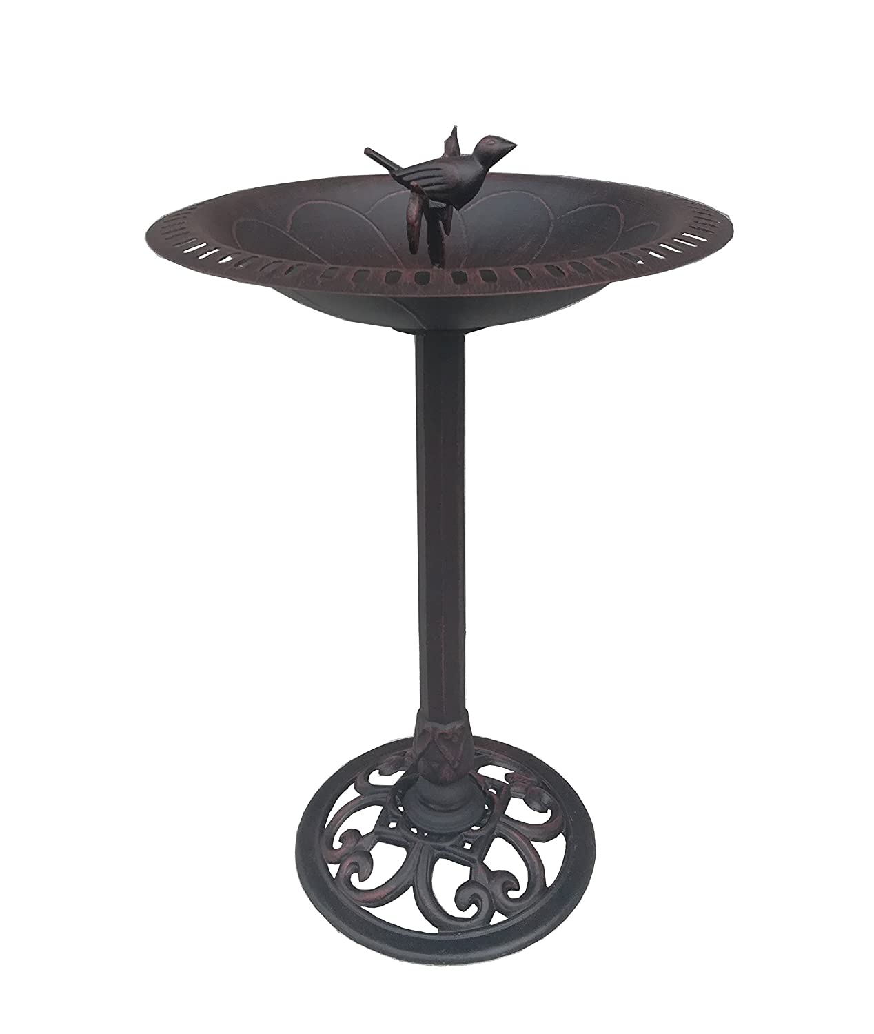 Cast Iron Bird and Twig Birdbath - Pedestal Birdbath for Yard, Garden Product SKU: BB11115 Pier Surplus