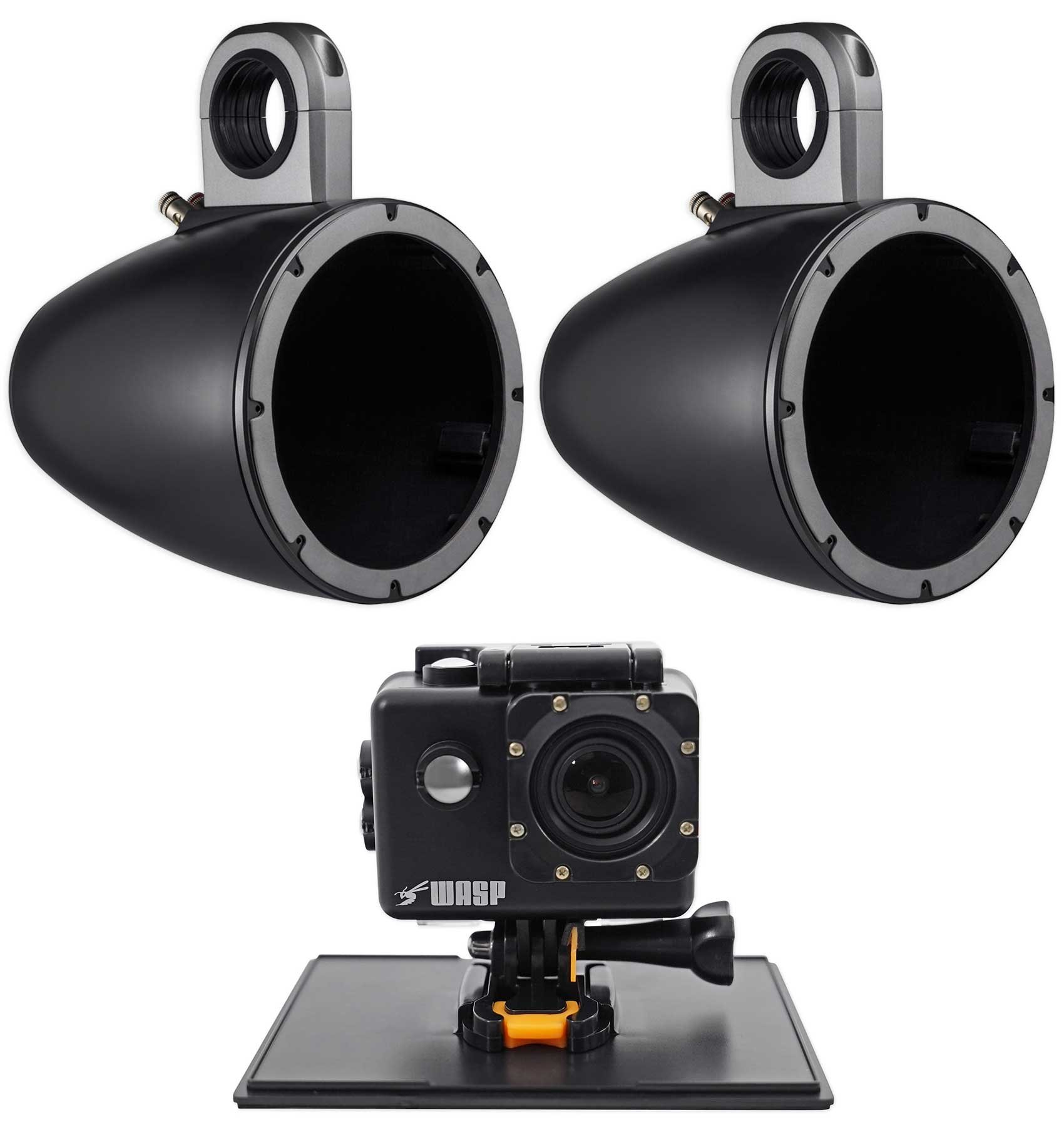 (2) Kicker 43KMTES8B Marine 8'' Speaker Wakeboard Tower Enclosures+Action Camera