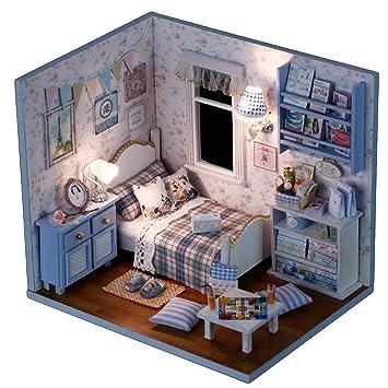 Great LA HAUTE DIY Dolls House Handcraft Cute Wooden House Mini Bedroom Furniture  Kit With Led Lights