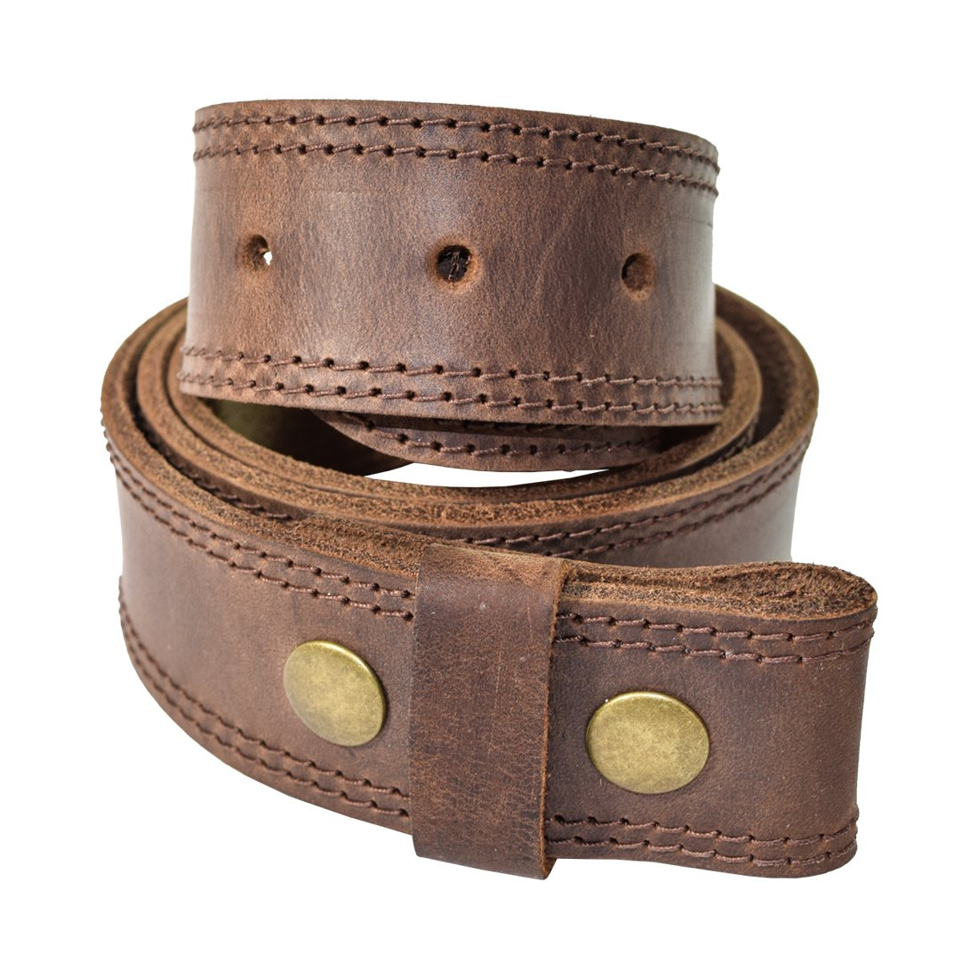 Hide & Drink Men's Two Row Stitch Thick Leather Snap On Belt Handmade by Bourbon Brown (Size 36)