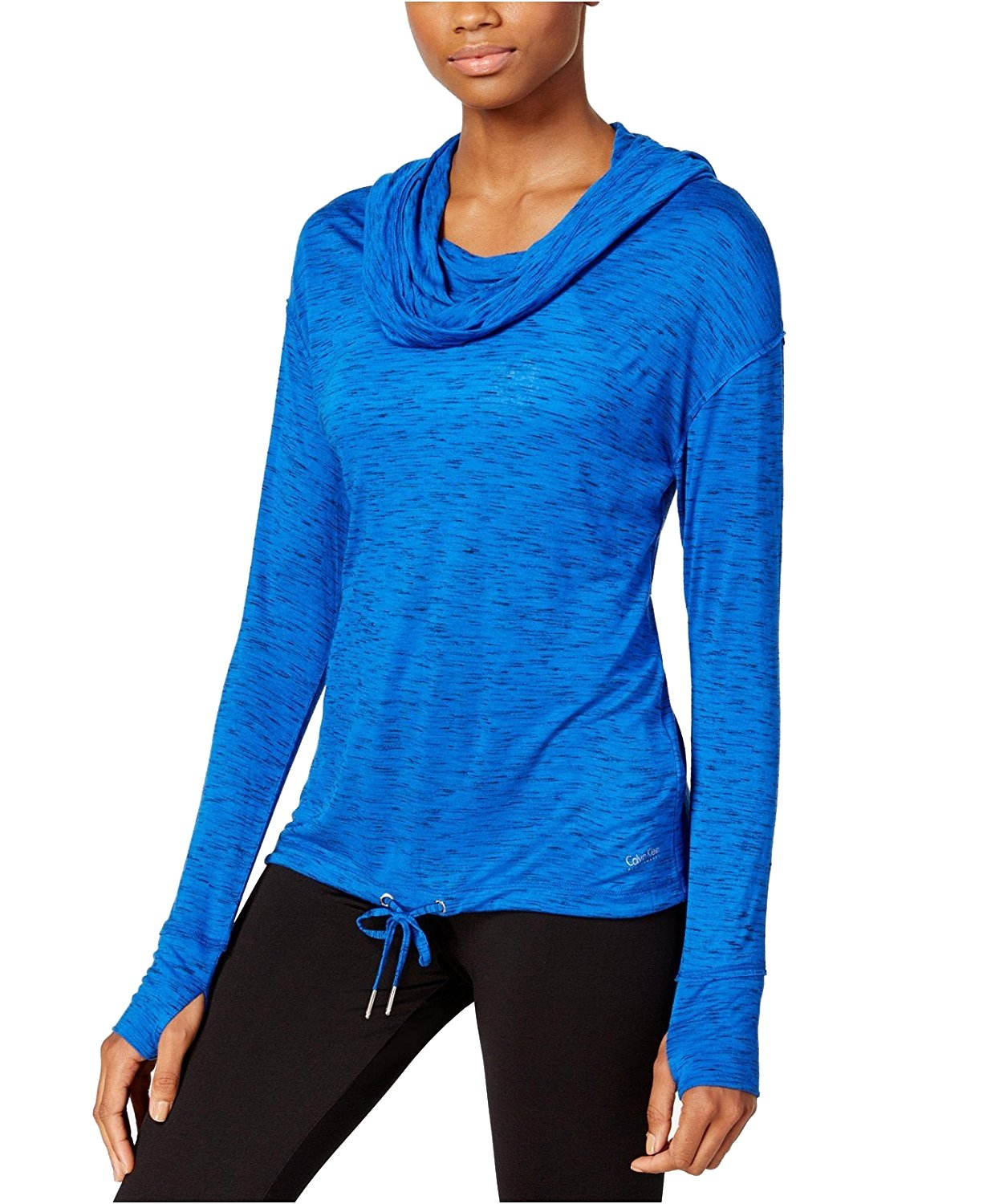 Calvin Klein Performance Cowl-Neck Hoodie Pullover PF6T0334 (Large, Surf the Web Blue Combo)
