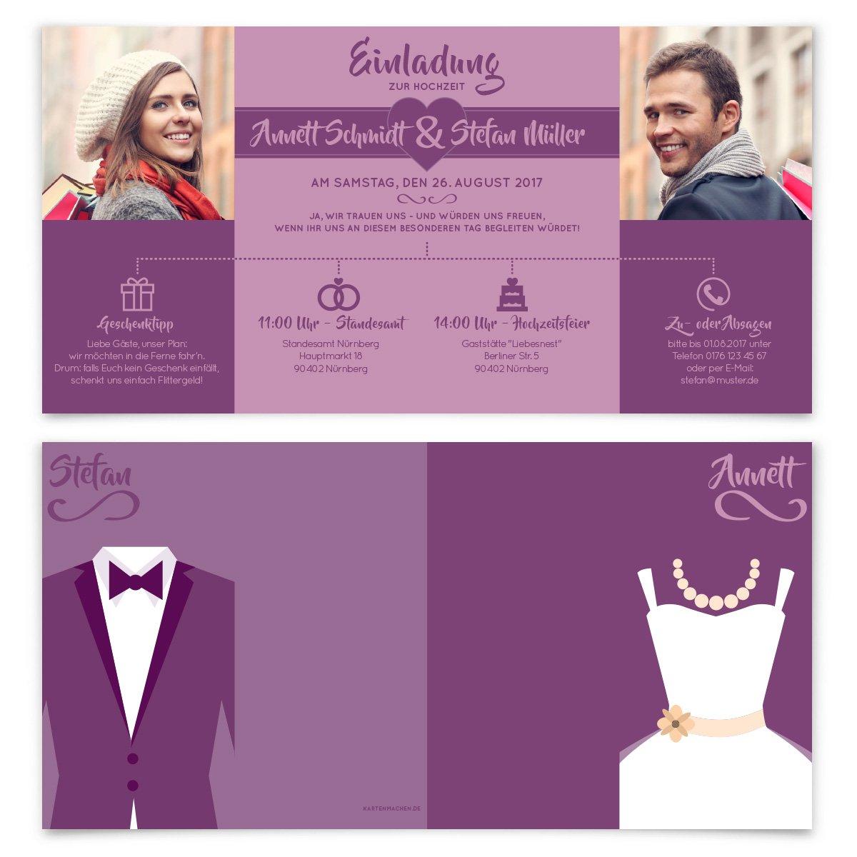 Hochzeitseinladungen 30 St/ück - Braut und Br/äutigam Altarfalz Hochzeitskarten in Vintage
