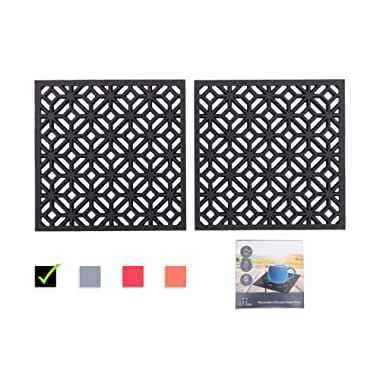 Q's INN Black Decorative Trivet For Hot Dishes  Hot Pot Holders   Teapot Trivet. Comparable to Cast Iron Trivets Our Kitchen Tool is Heat Resistant to 440°F, Non-slip, durable, flexible and has 2 pcs.