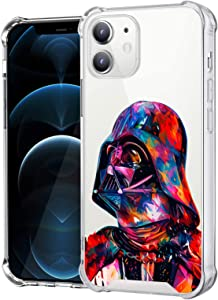 Compatible with iPhone 12 iPhone 12 Pro Clear Case, Shockproof Slim Fit TPU Cover Protective Phone Case for iPhone 12/12 Pro 6.1 inch (Star-Darth-Vader-Wars)