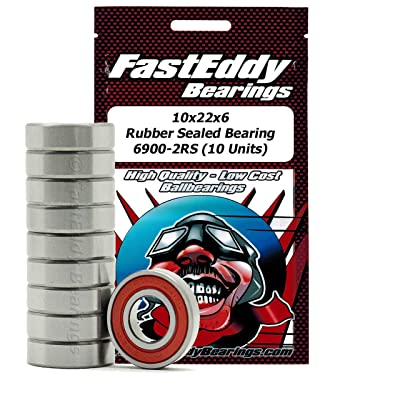 FastEddy Bearings 10x22x6 Rubber Sealed Bearing 6900-2RS (10 Units): Toys & Games
