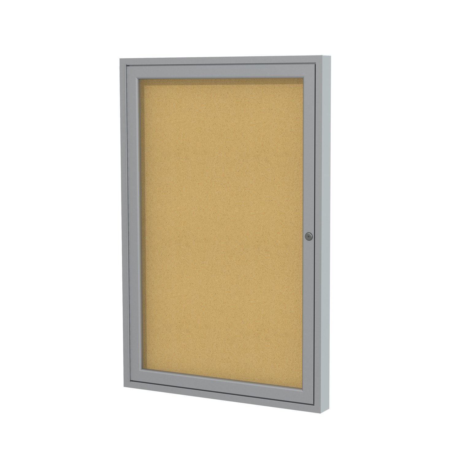 Ghent 36''x24''   1-Door indoor Enclosed Bulletin Board , Shatter Resistant, with Lock, Satin Aluminum Frame  - Natural Cork (PA13624K)  Made in the USA by Ghent