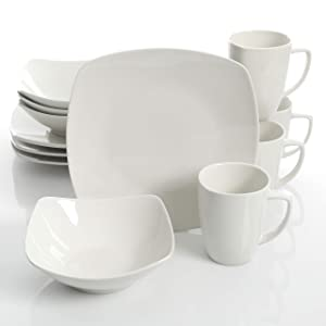 Gibson Home Zen Buffetware 12 Piece Dinnerware Set Service for 4, Square, White