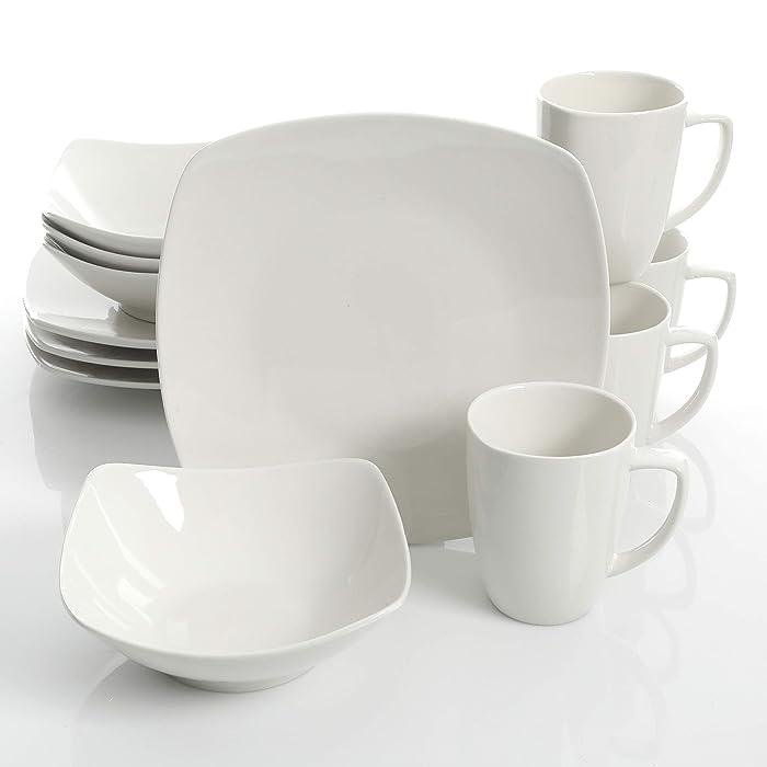 Gibson Home Zen Buffetware 12 Piece Dinnerware Set Service for 4, Square, White