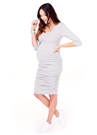 81120f0e5bfdb Ingrid & Isabel Women's Maternity 3/4 Sleeve Side Shirred Dress at Amazon Women's  Clothing store: