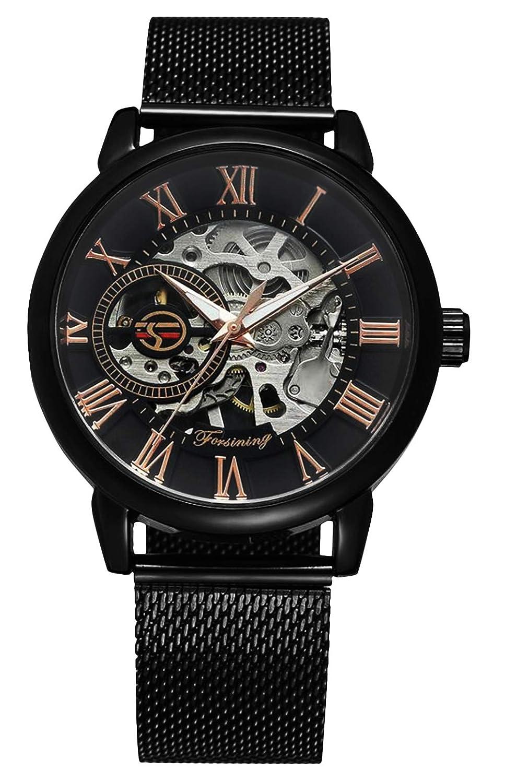 RSVOM Relojes de Pulsera para Hombre, Analógico Mecánico Automático con banda de malla de acero inoxidable, Reloj de pulsera de mano esqueleto para hombres negro