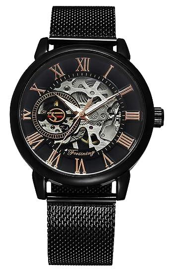 RSVOM Relojes de Pulsera para Hombre, Analógico Mecánico Automático con banda de malla de acero inoxidable, Reloj de pulsera de mano esqueleto para hombres ...